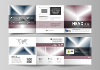 Business templates for tri fold square design brochures. Leaflet cover, flat layout, easy editable vector. Simple monochrome geometric pattern. Abstract polygonal style, stylish modern background.