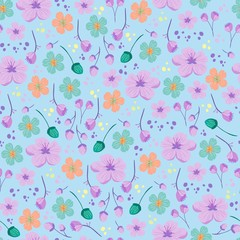 Vintage floral pattern. Cute pattern with simple flowers for textile, packaging, Wallpaper, covers. Vector Botanical background.