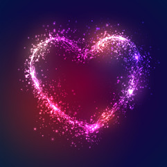 bright glowing heart, neon flashes, love and the day of the holy valentine.