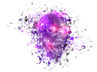 vector exploded skull with splashes in all directions.