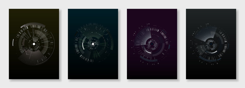Minimal brochure templates. elements on dark background. Technology sci-fi concept, abstract vector design. Templates for flyer, leaflet, brochure, report, presentation, advertising
