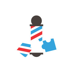 Puzzle Barber Logo Icon Design