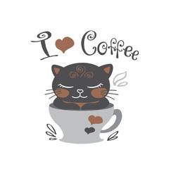 Funny cute black kitten in coffee mug