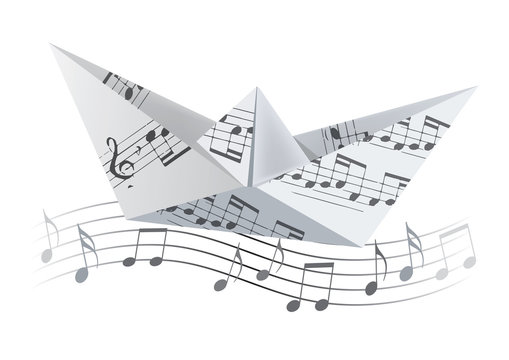 Origami boat on the wave with musical notes.