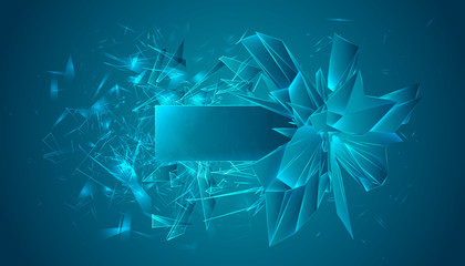 Vector image. The crystal explodes into small pieces.