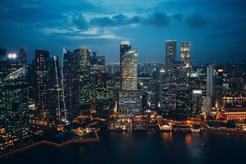 Singapore city landscape, night skyscrapers and bay