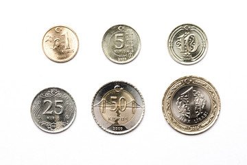 Turkish coins on a white background