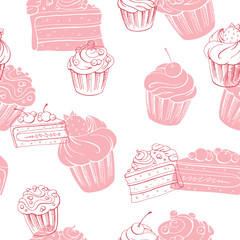 Muffin dessert graphic pink color sketch seamless pattern illustration vector