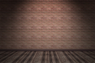 interior with orange brick wall and wood floor dark room with one light - 3d illustration