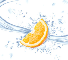 Orange slice and spray of blue water isolated on white background