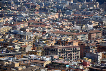 Aerial drone view of Rome city, Italy