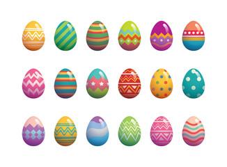 Set of easter eggs flat design on white background.