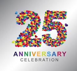 25th anniversary design logotype paper hearts multi-color for celebration