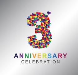 3rd anniversary design logotype paper hearts multi-color for celebration