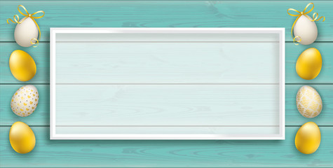 Premium Easter Eggs Turquoise Planks Header White Frame