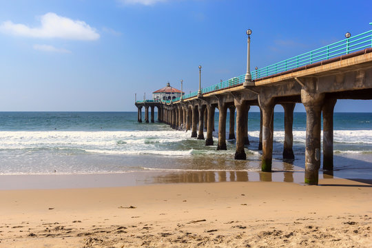 View along the pier at Manhattan beach, California