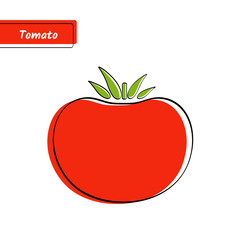 Flat design vegetable education card. Vector illustration with big solid red isolated tomato, black outline and label on white background for organic market logo, fresh product sign or kid game