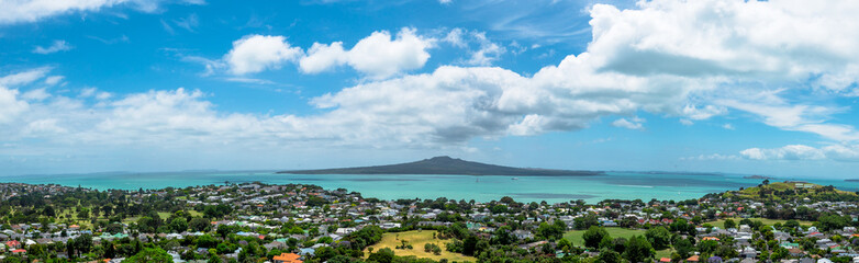 Rangitoto island panoramic view from Mount Victoria in Auckland, New Zealand