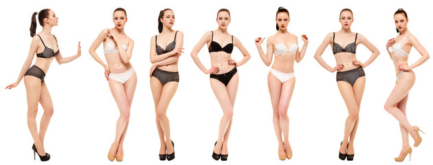 Young woman in lingerie on white background. Collage Snap Models
