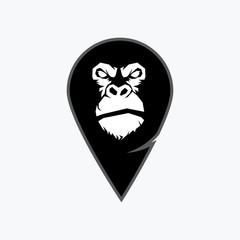 Gorilla head vector, monkey head vector, ape face logo