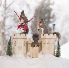 red squirrels with dragon and castle in a winter