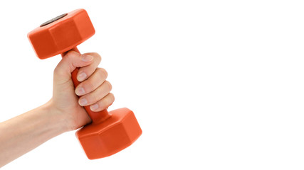 female hand takes or gives dumbbell. Isolated on white background. copy space, template.
