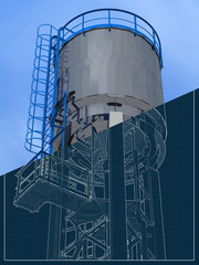 Shiny water tower out of steel. 3D rendering of the model. Blueprint.