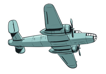Airplane - coloured hand drawing illustration of old type aircraft of cargo or bomber type.