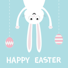 Happy Easter. White bunny rabbit. Funny head face silhouette hanging upside down. Painting egg shell. Dash line thread. Cute cartoon character Baby collection. Flat design Blue background