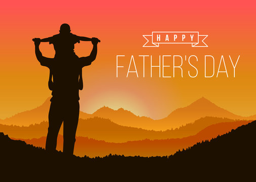 Happy father day with Silhouette son is riding his father's neck at Mountain peaks in evening time vector design
