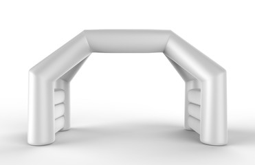 White Blank Inflatable angular Arch Tube or Event Entrance Gate.Start line sports double arch door. 3d render illustration.