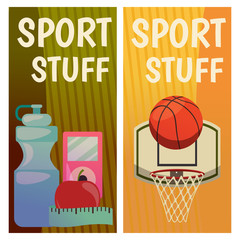 Vector banners with sport icons. Fitness. Basketball. Ready-made poster with basket, ball, bottle of water, apple