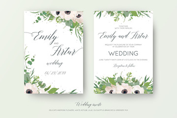 Vector floral wedding double invite, invitation, save the date card design with mauve pink anemones, eucalyptus branches, cute white lilac flowers, greenery plants & leaves. Elegant, delicate template
