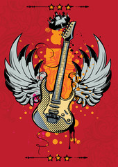 Winged guitar on bright background