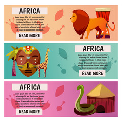 Africa. Travel to exotic continent. Banners with vector icons