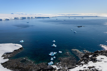 Antarctic landscape with iceberg aerial view