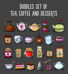 Doodle collection of colored sketches of teapots, cups, tea, coffee and desserts. Vector illustration.