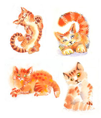 watercolor cats red