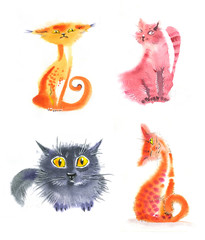 watercolor cats different