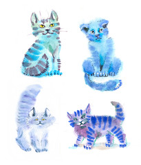 watercolor cats cyan