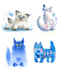 watercolor cats blue