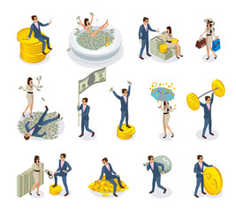 Rich People Isometric Icons