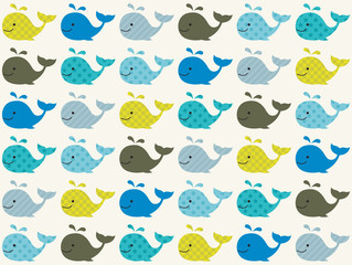 Naklejka premium wzór wieloryba bez szwu