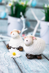Easter sheep on wood