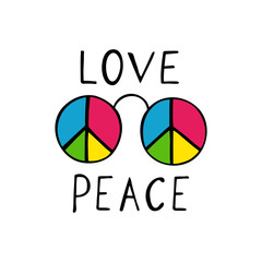 Love and peace hippie style design.