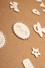 Wooden frame for baby photo with wooden letters