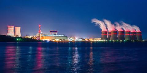 Ночной вид Нововоронежскую атомную электростанцию