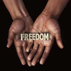 African hand with text Freedom