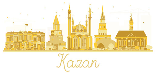 Kazan Russia City Skyline Golden Silhouette.
