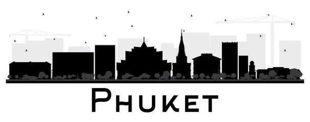 Phuket Thailand City Skyline Silhouette with Black Buildings Isolated on White.